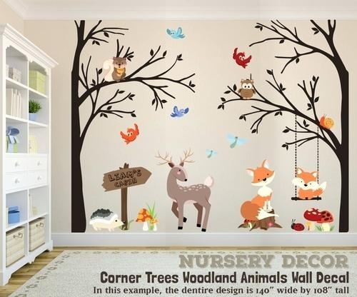 Woodland Nursery Decals Shop Woodland Baby Birch Tree Giant Wall Pertaining To Woodland Nursery Wall Art (Image 16 of 25)