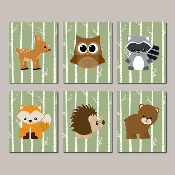 Woodland Nursery Wall Art, Woodland Animals, Woodland Baby Shower Inside Woodland Nursery Wall Art (View 2 of 25)