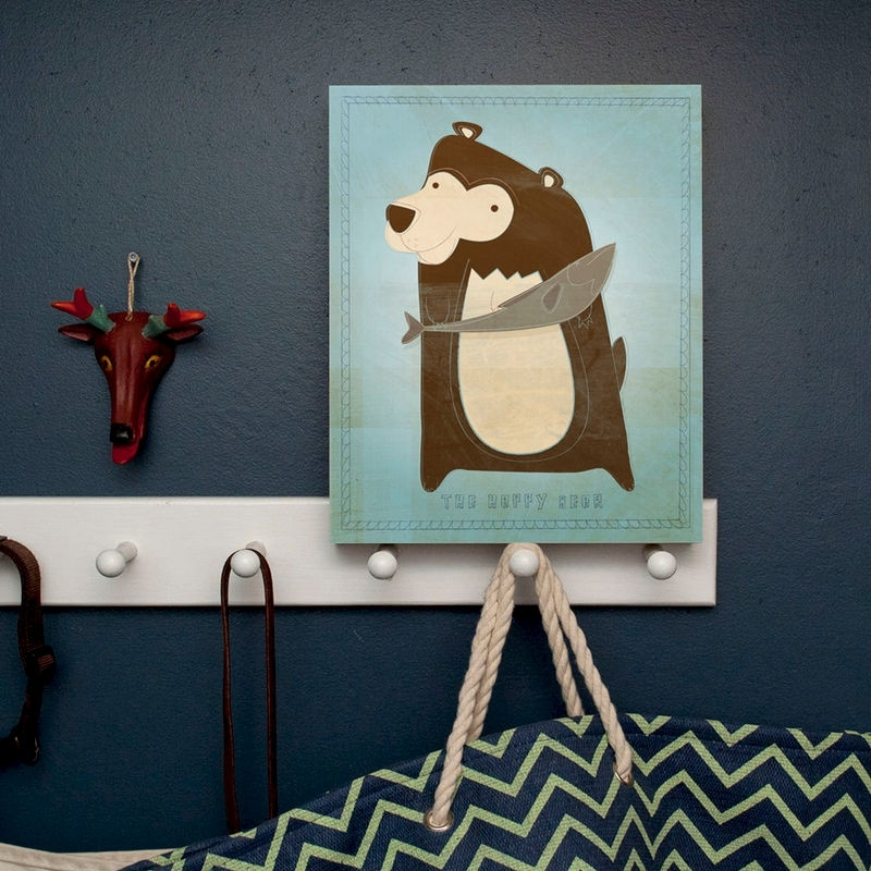 Woodland Nursery Wall Decor Woodland Critters Happy Bear Art Box 11 With Woodland Nursery Wall Art (View 13 of 25)