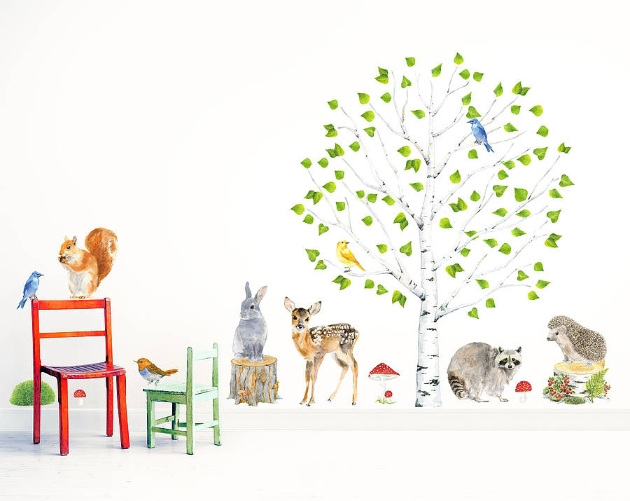 Woodland Nursery Wall Stickers, Animals And Tree Setchocovenyl Inside Woodland Nursery Wall Art (View 22 of 25)