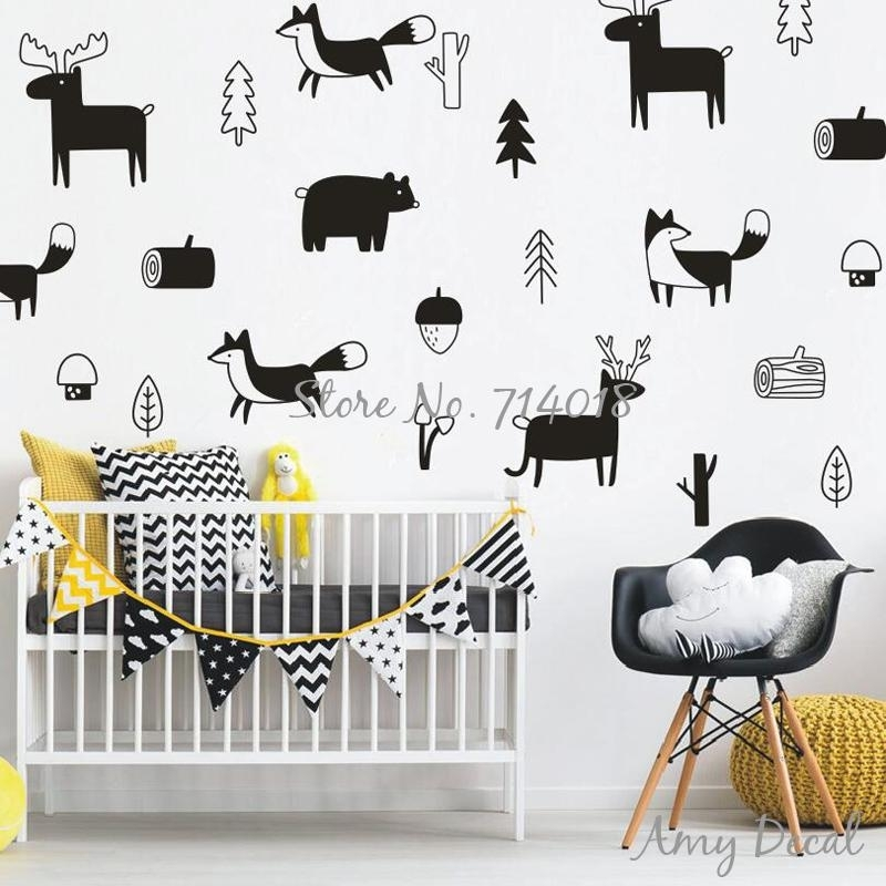 Woodland Nursery Wall Stickers, Cute Animals Tree Forest Vinyl Wall For Woodland Nursery Wall Art (Image 25 of 25)