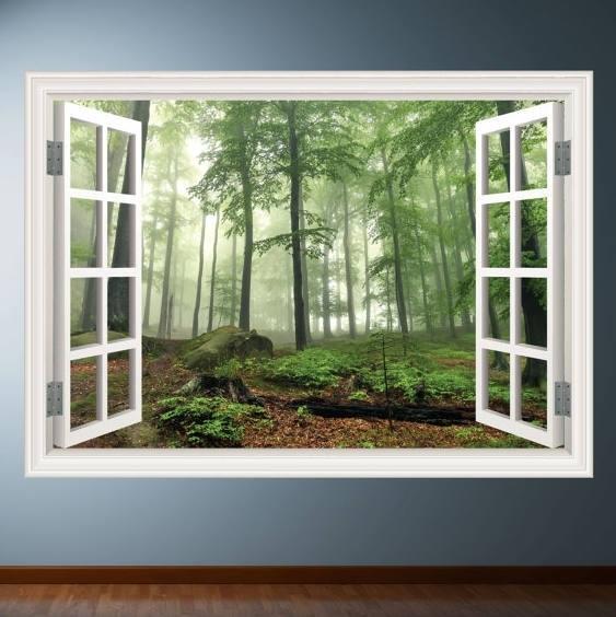 Woods Trees Window Frame Wall Art Sticker Decalmysticky On Zibbet Within Window Frame Wall Art (Image 10 of 10)