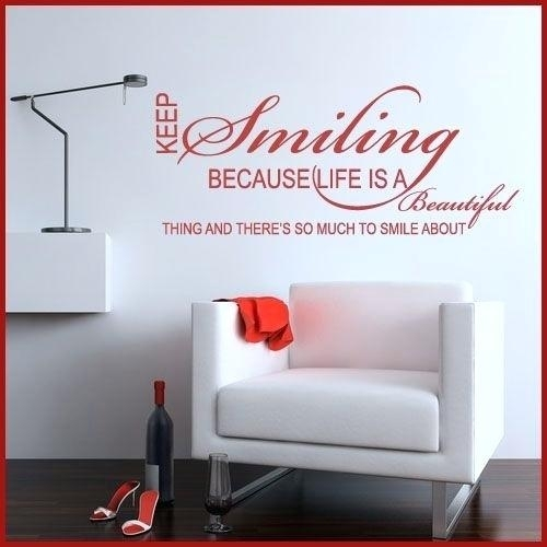 Word Wall Stickers Fantastic Word Wall Art Home Decor Keep Smiling Throughout Word Wall Art (View 6 of 20)