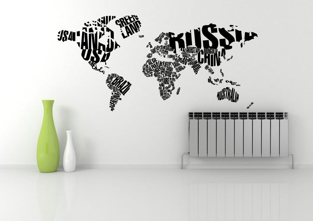 World Map Atlas Quote Abstract Wall Art Sticker Decal Mural Stencil Intended For Wall Art Stickers World Map (Image 18 of 25)