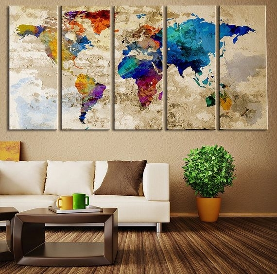 World Map Canvas Art Print, Wonders Of The World On World Map Art Regarding World Map For Wall Art (View 10 of 25)