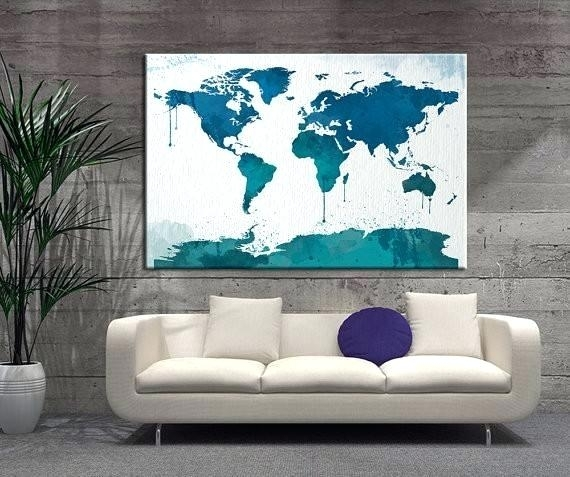 World Map Canvas Wall Art – Room Decorating Regarding Maps Wall Art (Image 22 of 25)