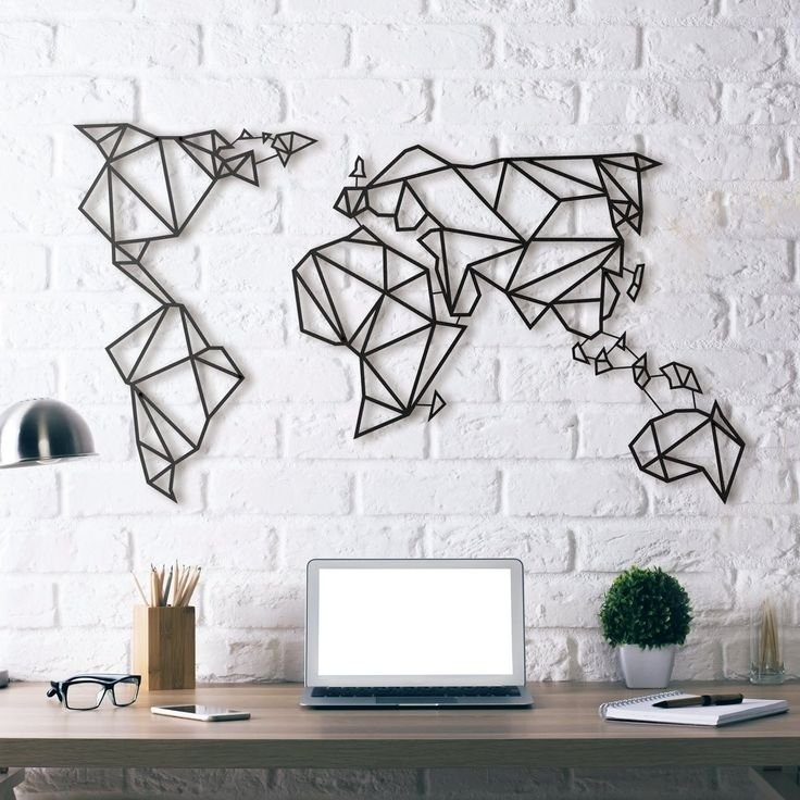World Map Metal Wall Art   Products To Buy   Pinterest   Steel For Wall Art (Image 10 of 10)