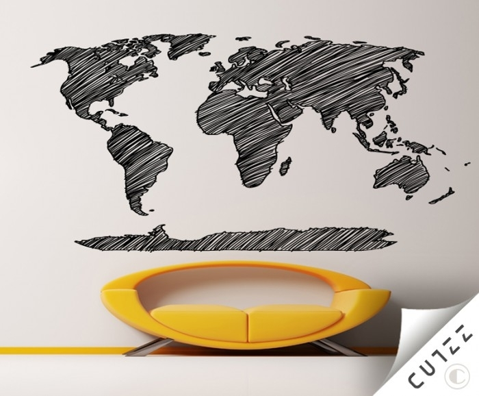 World Map Pencil Sketch Vinyl Wall Decal – Cutzz With Map Of The World Wall Art (View 12 of 25)
