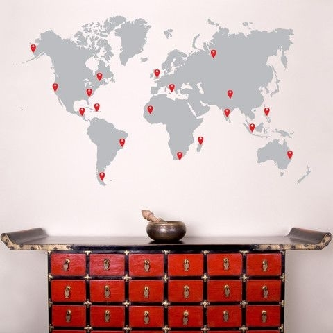 World Map Pin Drops Decal #873 | Wall Art Decal, Wall Decal Sticker With Regard To Wall Art Stickers World Map (Image 19 of 25)