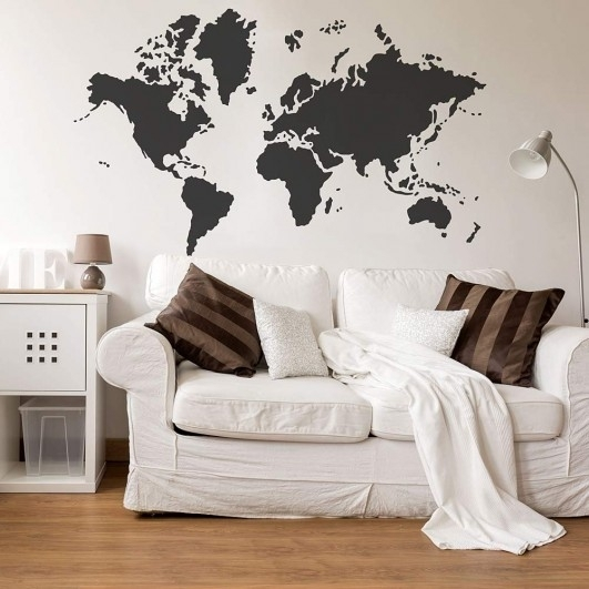 World Map Stencil – Reusable Wall Stencil Instead Of Decals Inside World Map For Wall Art (View 3 of 25)
