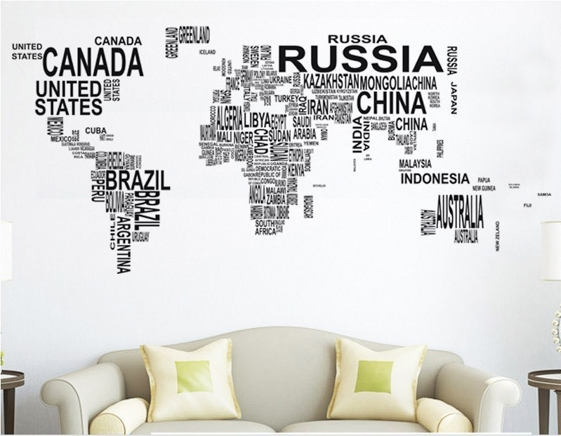 World Map Sticker Wall Art – [Thronefield] Intended For Map Of The World Wall Art (View 22 of 25)