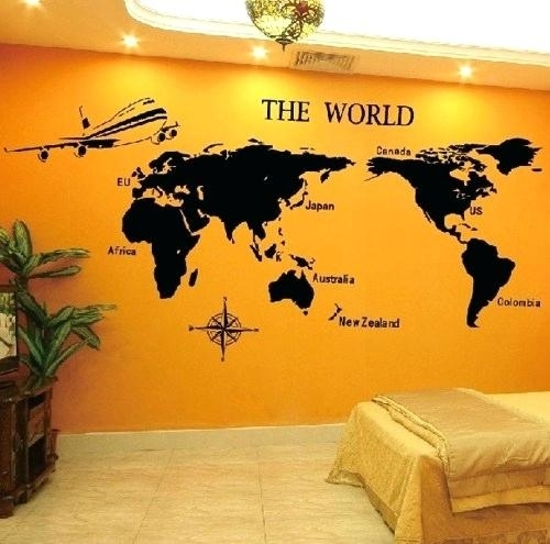 World Map Sticker Wall Art World Map Wood Wall Art Stickers Also In Vinyl Wall Art World Map (Image 25 of 25)