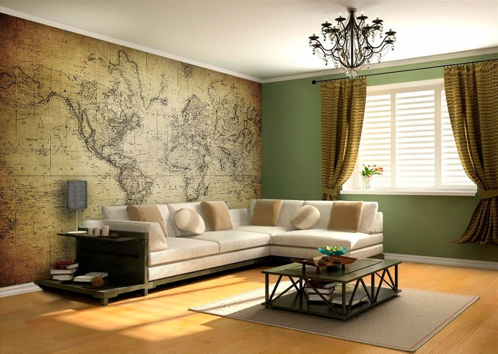 World Map Vintage Wall Art – Moonwallstickers Inside Map Of The World Wall Art (View 23 of 25)