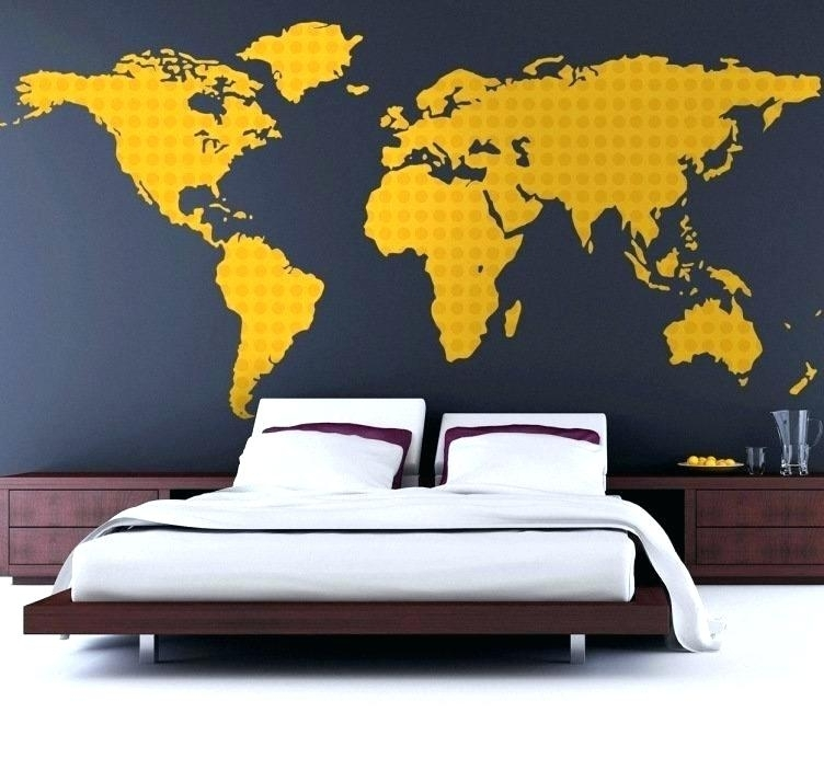 World Map Wall Art Stickers World Map Wall Art Stickers Yellow World In Wall Art Stickers World Map (Image 21 of 25)