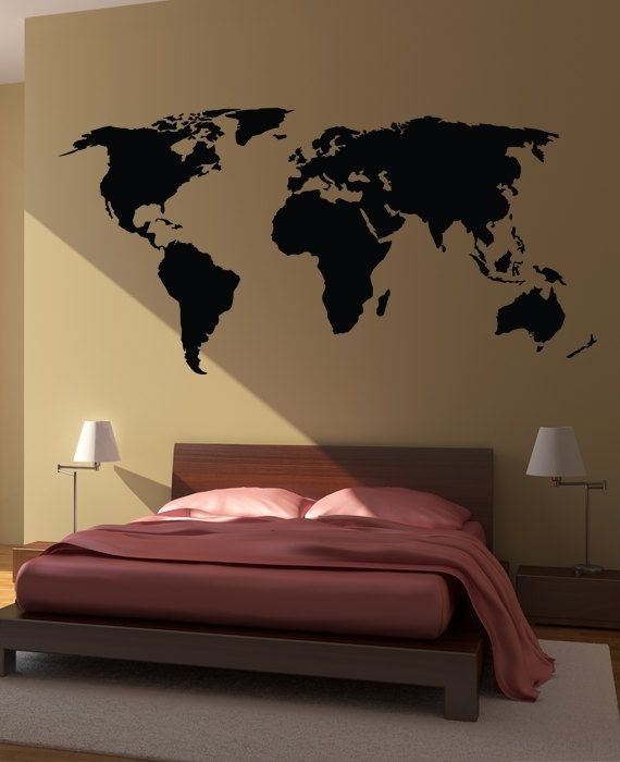 World Map Wall Decal Sticker World Country Atlas Thehappywallz Throughout Wall Art Stickers World Map (View 23 of 25)