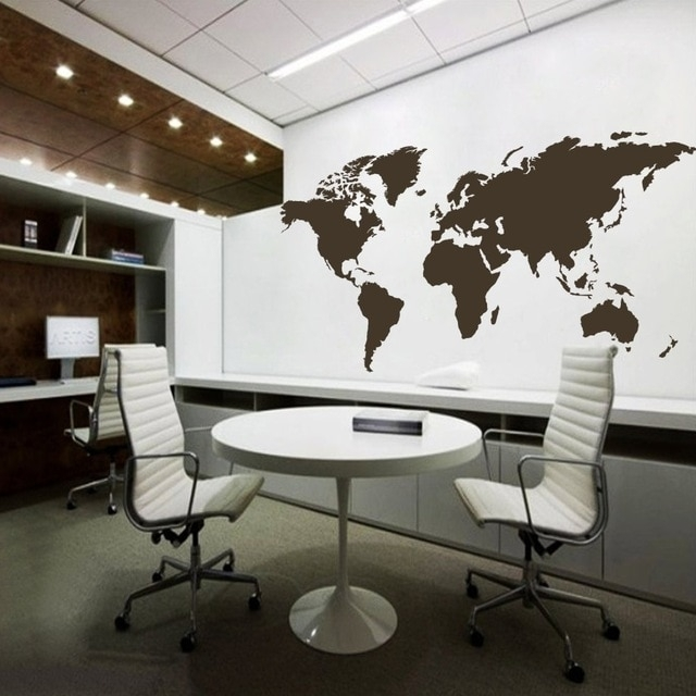 World Map Wall Decal The Whole World Atlas Vinyl Wall Art Sticker With Wall Art Map Of World (View 21 of 25)