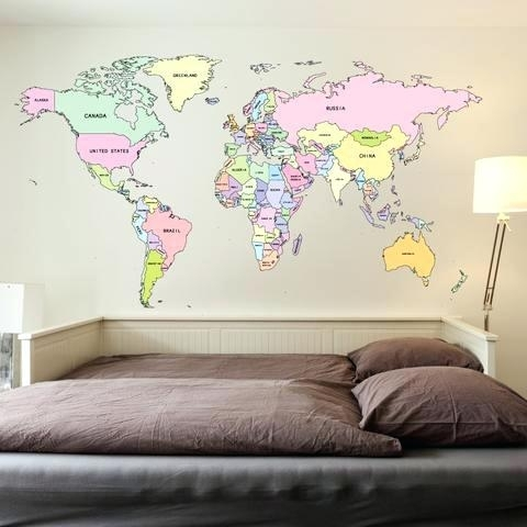 World Map Wall Decal Wanderlust World Map Wanderlust Decal World Map Pertaining To Wall Art Stickers World Map (View 20 of 25)