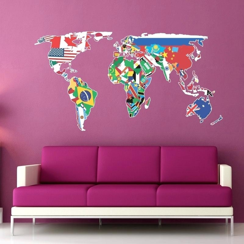 World Map Wall Decal World Map Wall Art Stickers World Map Wall With Wall Art Stickers World Map (View 12 of 25)