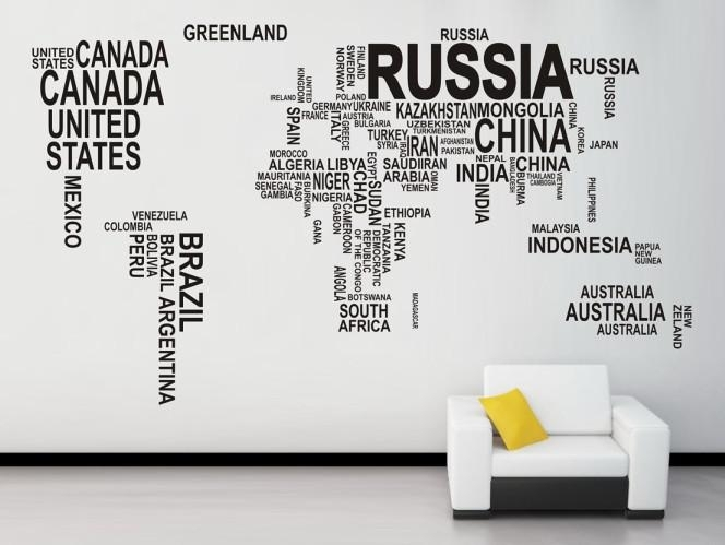 World Map Wall Sticker Map Of The World For Learning Study Black Pertaining To Wall Art Stickers World Map (Image 25 of 25)