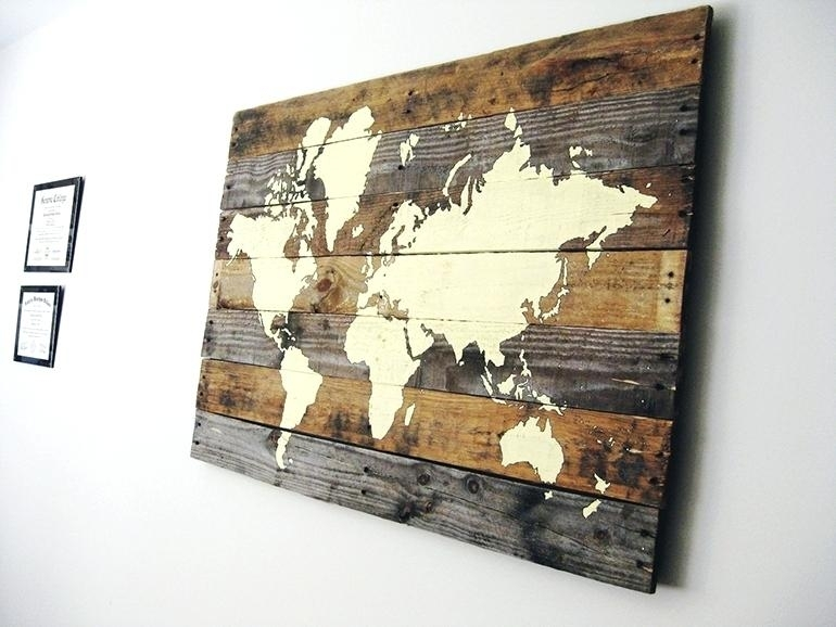 World Map Wood Art Wall Map Wall Art Sign Wall Art Map Of The World Pertaining To Wall Art Map Of World (Image 21 of 25)