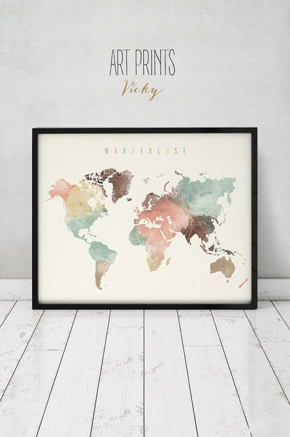 World Map, World Map Poster, Wanderlust, World Map Wall Art, World With Regard To Wall Art Map Of World (Image 22 of 25)