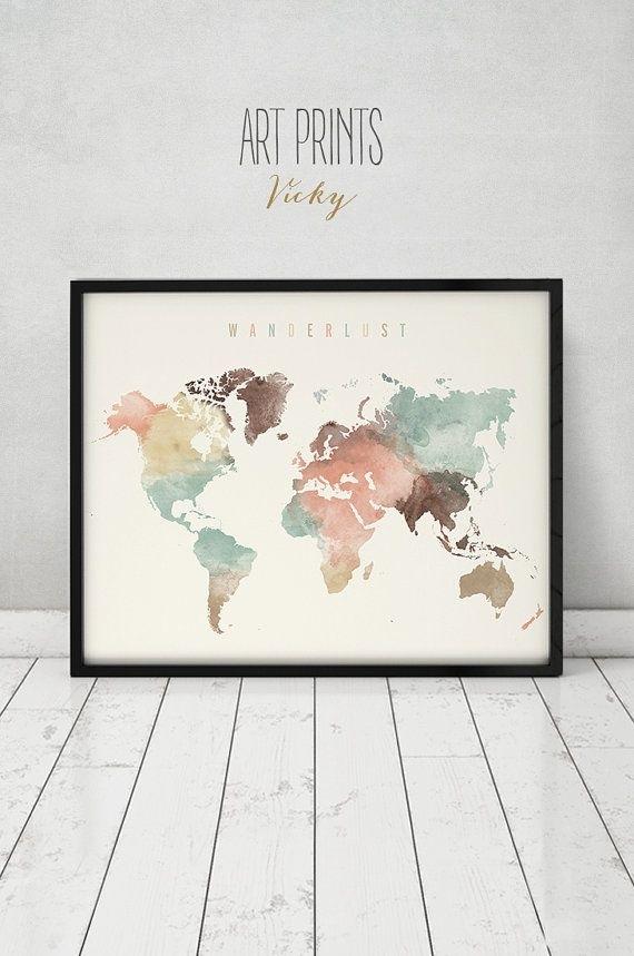 World Map, World Map Poster, Wanderlust, World Map Wall Art, World With Regard To Wall Art Map Of World (View 11 of 25)