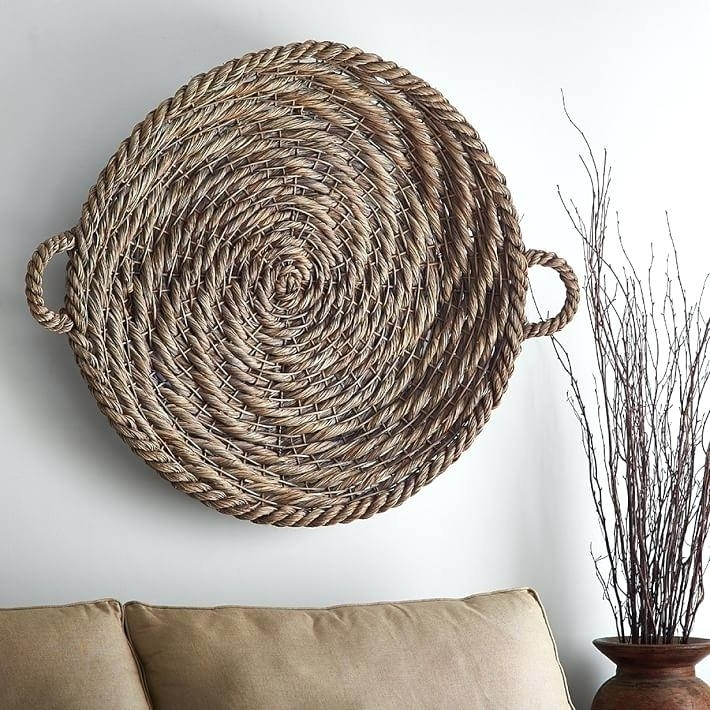 Woven Basket Wall Art Wicker Wall Decor Art Rattan And Metal Willow In Woven Basket Wall Art (View 10 of 25)
