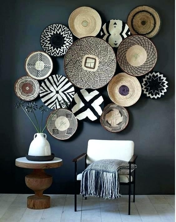 Woven Basket Wall Decor Bamboo Art With Round Wicker Frame Basket Within Woven Basket Wall Art (Image 22 of 25)