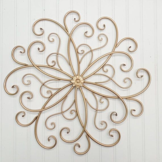 Wrought Iron Wall Decor You Pick Colors/ Gold/theshabbystore Within Gold Metal Wall Art (Image 10 of 10)