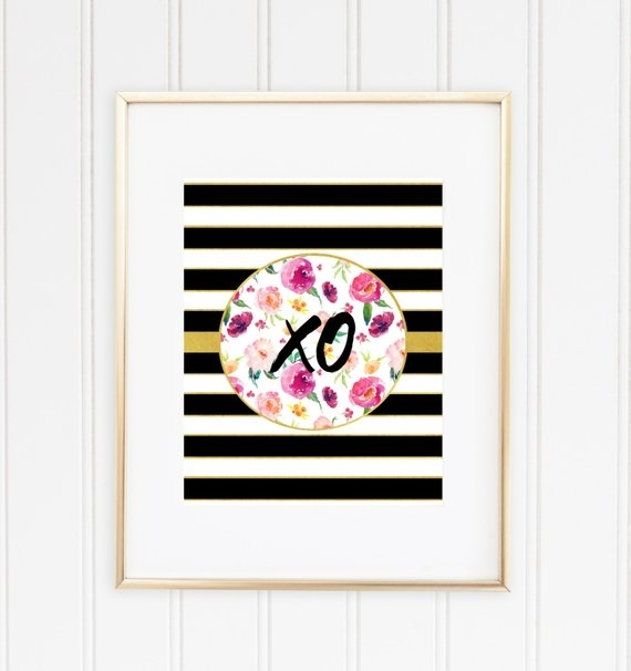 Xo Print Printable Wall Art Kate Spade Inspired Chic Print | Etsy With Kate Spade Wall Art (Image 20 of 20)