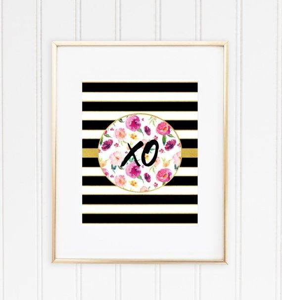 Xo Print Printable Wall Art Kate Spade Inspired Chic Print | Etsy with Kate Spade Wall Art