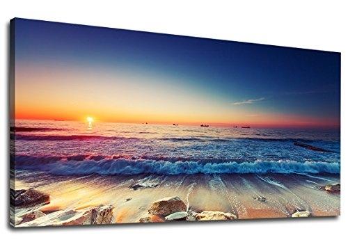 Yearainn Canvas Wall Art Sunset Beach Ocean Waves Panoramic Seascape regarding Long Canvas Wall Art