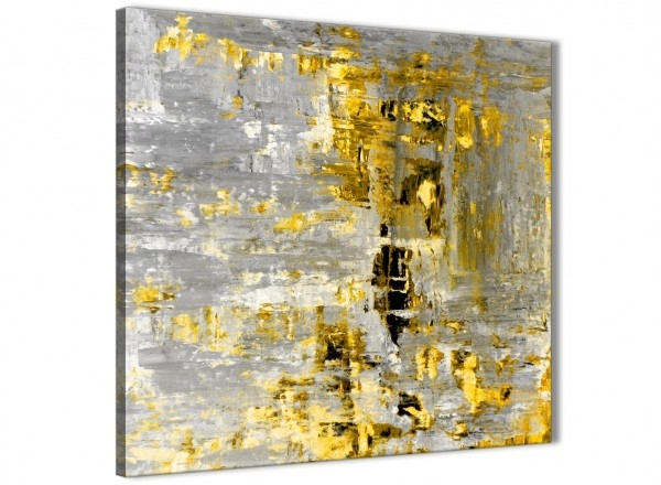 Yellow Abstract Painting Wall Art Print Canvas – Modern 64Cm Square With Regard To Modern Abstract Painting Wall Art (Image 25 of 25)