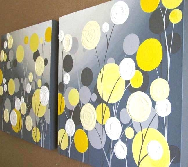 Yellow And Gray Canvas Wall Art Yellow And Gray Canvas Wall Art With Regard To Yellow Wall Art (View 11 of 20)