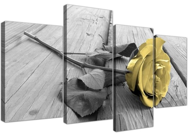Yellow And Grey Canvas Wall Art Of Rose Pictures For Your Living Intended For Yellow Wall Art (Image 14 of 20)