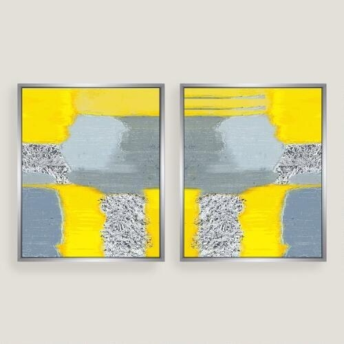 Yellow Grey Abstract Canvas Wall Art Inside Yellow Wall Art (Image 17 of 20)