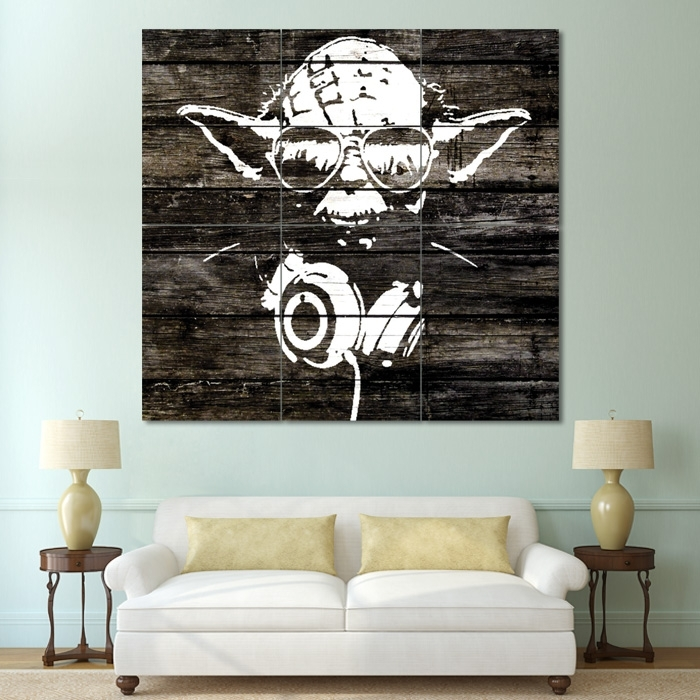 Yoda Wood Graffiti – Star Wars Block Giant Wall Art Poster In Giant Wall Art (View 4 of 25)