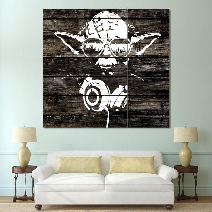 Yoda Wood Graffiti – Star Wars Block Giant Wall Art Poster In Giant Wall Art (Image 25 of 25)