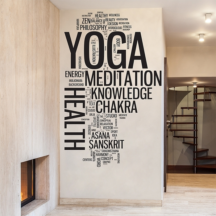 Yoga Word Cloud Vinyl Wall Art Decal throughout Word Wall Art