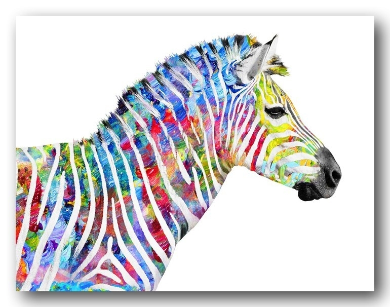Zebra Bands Of Colour Canvas Print Wall Art throughout Zebra Canvas Wall Art