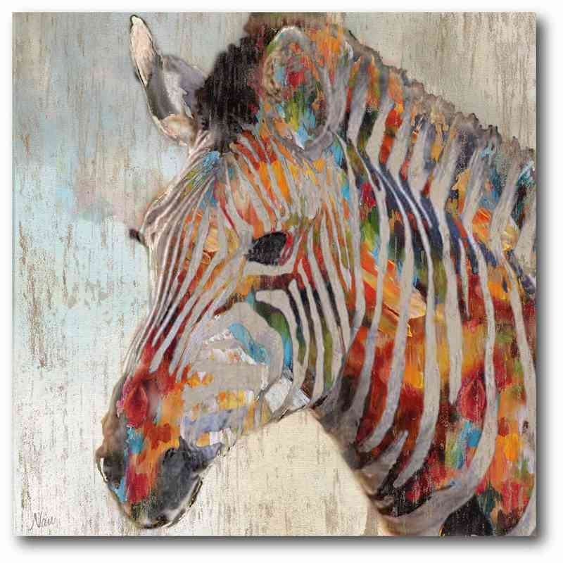 "Zebra Embers 16"" X 16"" Canvas Wall Art - Wall Art - Home with regard to Zebra Canvas Wall Art"