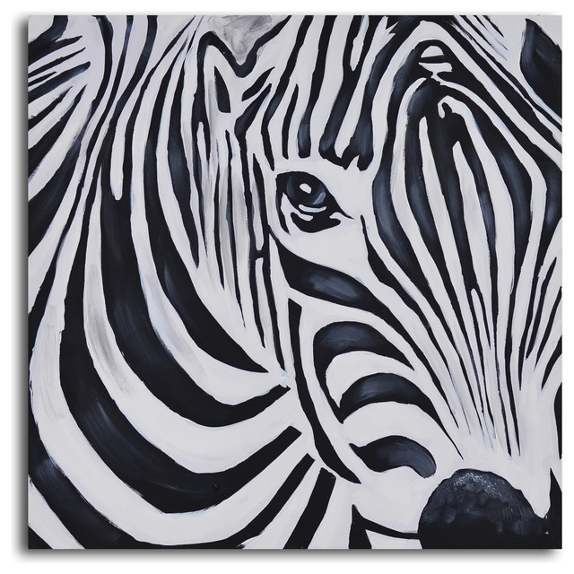 Zebra Perspective Hand Painted Canvas Art - Prints And Posters - throughout Zebra Canvas Wall Art