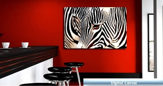 Zebras Digital Photo On Canvas | Canvases In Zebra Canvas Wall Art (View 6 of 25)