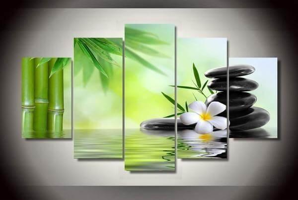 Zen Bamboo Canvas Wall Art Paintings | The Yoga Mandala Shop inside Canvas Wall Art