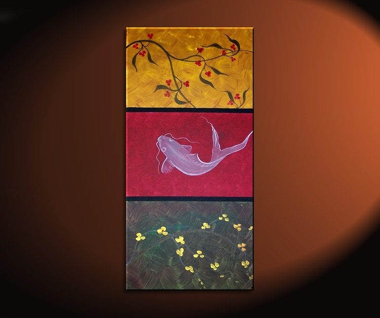 Zen Koi Fish Painting Chinese Red Green Yellow Wall Art Style in Fish Painting Wall Art