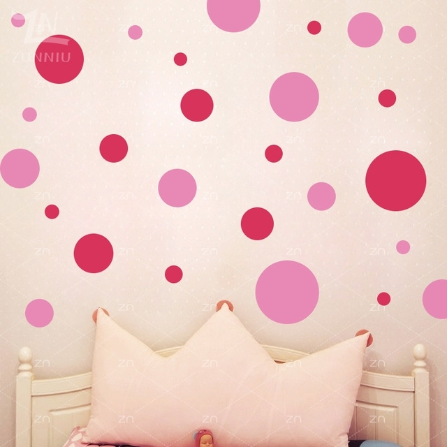 Zn Circle Polka Dots Wall Stickers Assorted Diy Vinyl Home Decor For With Circle Wall Art (Image 25 of 25)