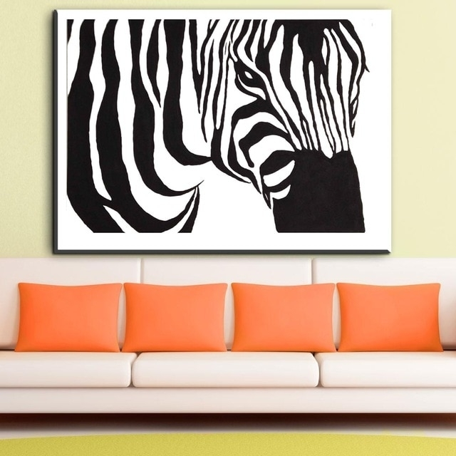 Zz1828 Black And White Zebra Canvas Wall Art Animal Canvas Pictures Intended For Zebra Canvas Wall Art (View 16 of 25)