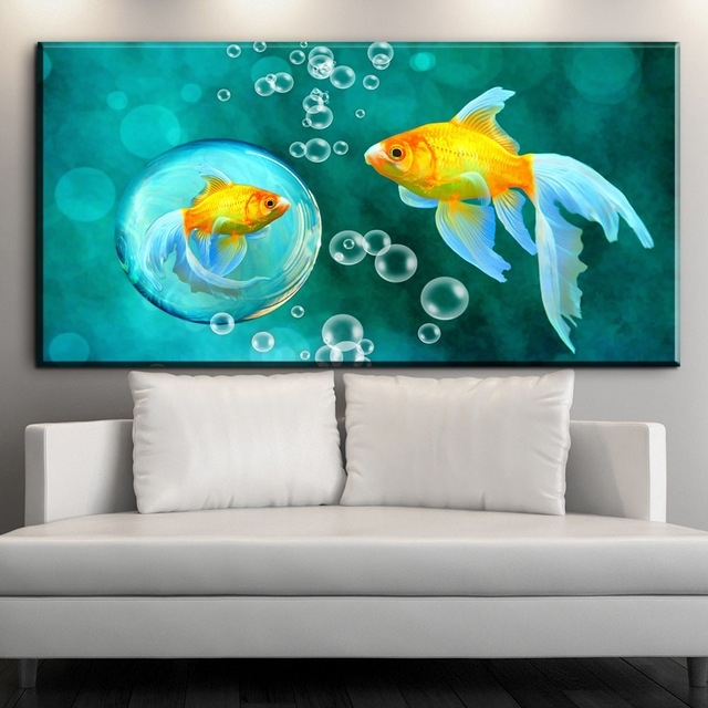 Zz1898 Koi Fish Wall Art Chinese Painting Wall Art On Canvas Home within Fish Painting Wall Art