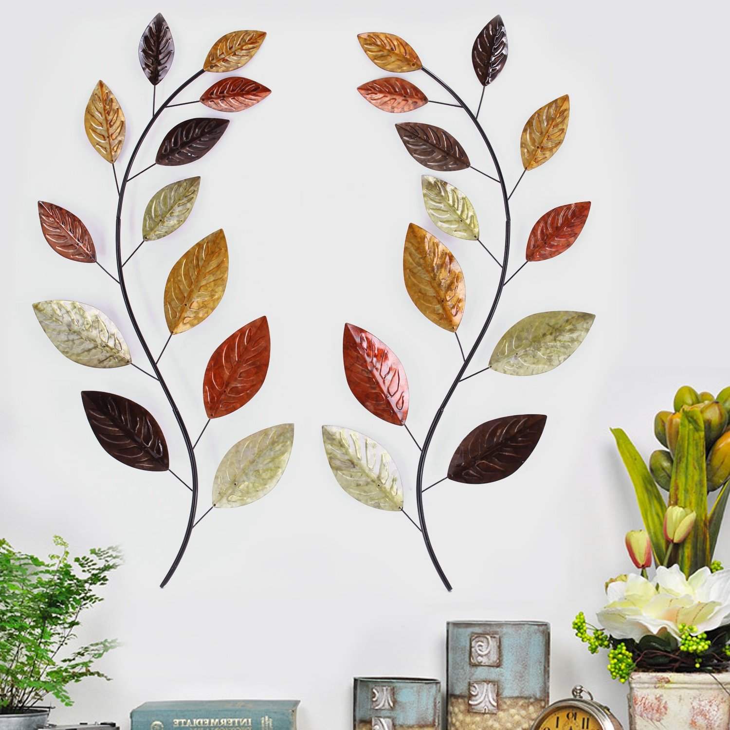 Asense Tree Leaf Metal Wall Art Sculptures Home Decor Life Decoration (View 5 of 10)