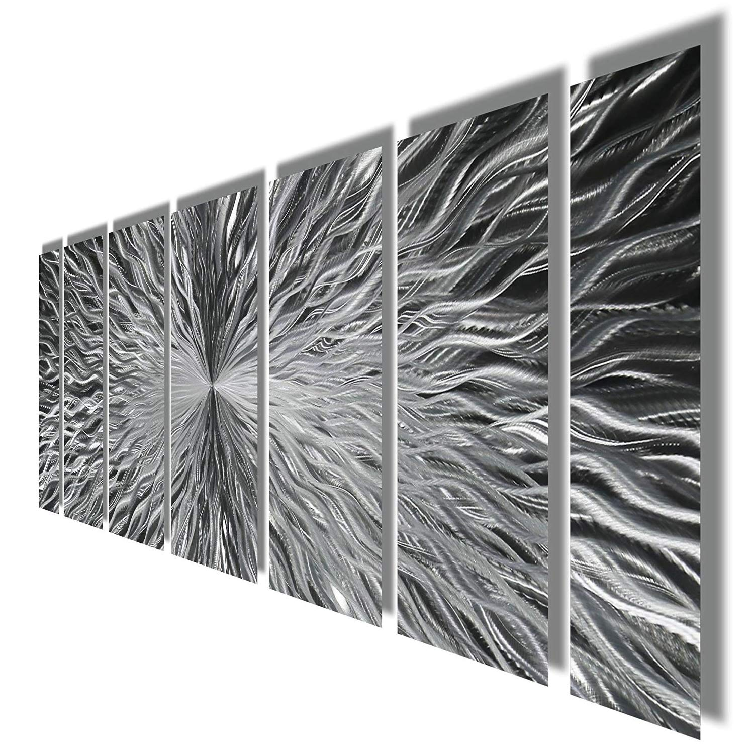Silver Contemporary Metal Wall Art – Abstract Home Decor Accent, Modern Panel Wall Art (View 8 of 10)